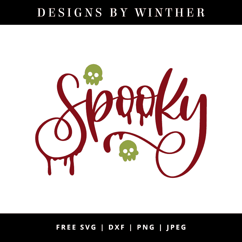 hand lettered word spooky vector file