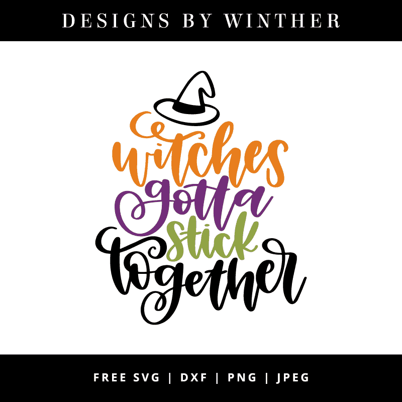 witches gotta stick together vector clipart