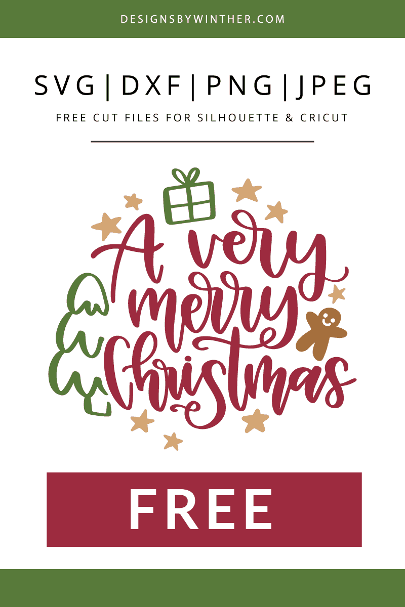 Free a very merry christmas vector clipart for cutting machines