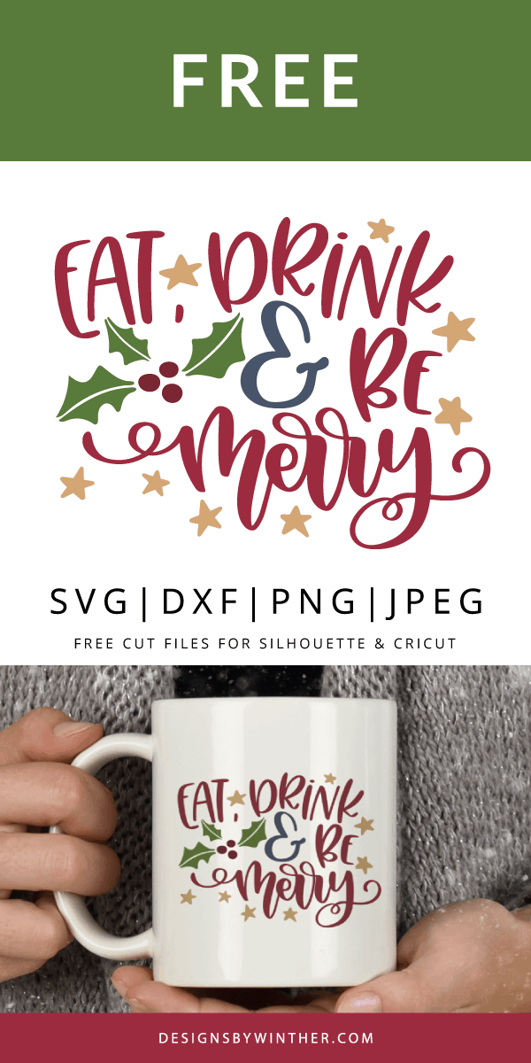 Eat drink and be merry free svg file for silhouette and Cricut