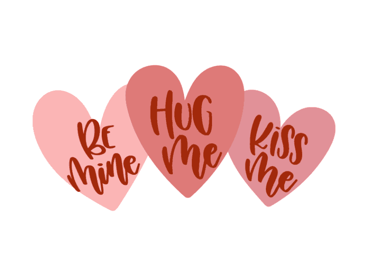 hug me kiss me be mine vector art