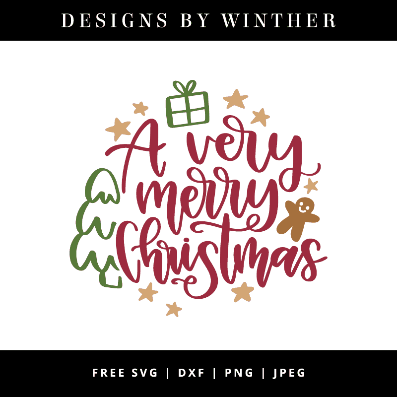 A very merry christmas hand lettered vector file