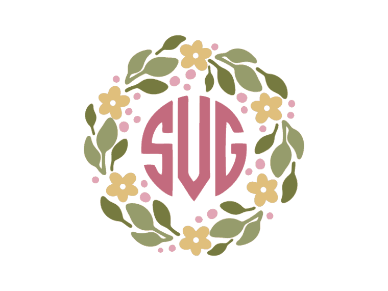 Spring monogram frame vector file