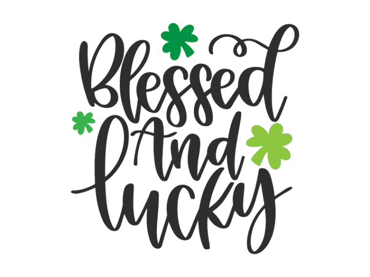 Blessed and lucky hand lettered vector
